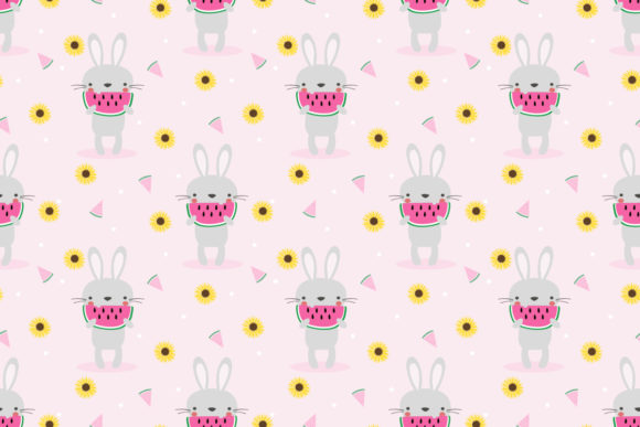 Download Free Bunny And Watermelon Seamless Pattern Graphic By Thanaporn Pinp for Cricut Explore, Silhouette and other cutting machines.
