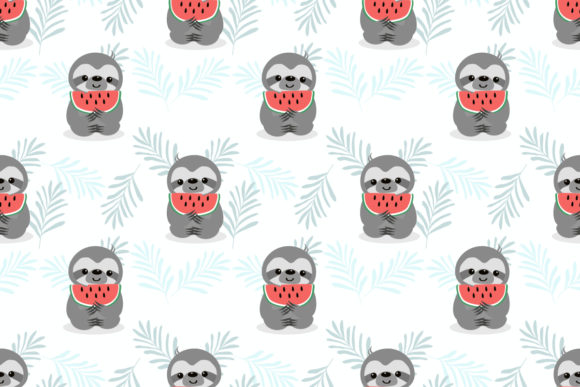 Lazy Sloth and Watermelon Seamless Graphic Patterns By thanaporn.pinp