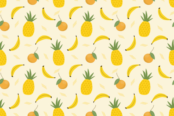 Pineapple and Banana Seamless Pattern Graphic Patterns By thanaporn.pinp