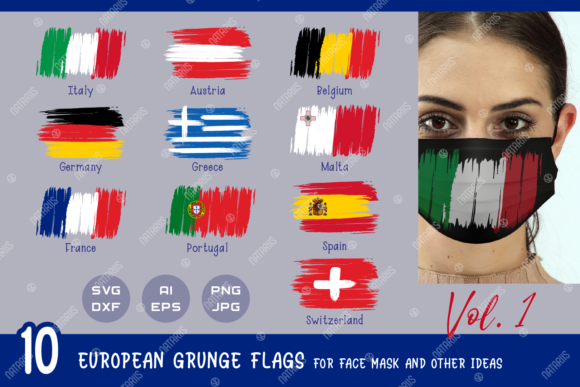 10 European Grunge Flags for Face Mask Graphic