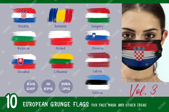 10 European Grunge Flags for Face Mask Graphic Crafts By Natariis Studio
