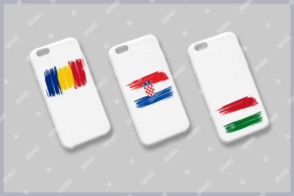 10 European Grunge Flags for Face Mask Graphic Item