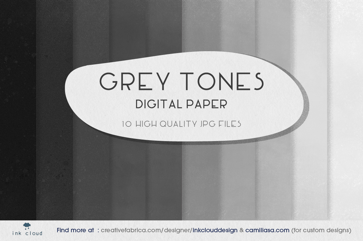 Download Free 10 Grey Tones Black White Digital Paper Graphic By for Cricut Explore, Silhouette and other cutting machines.