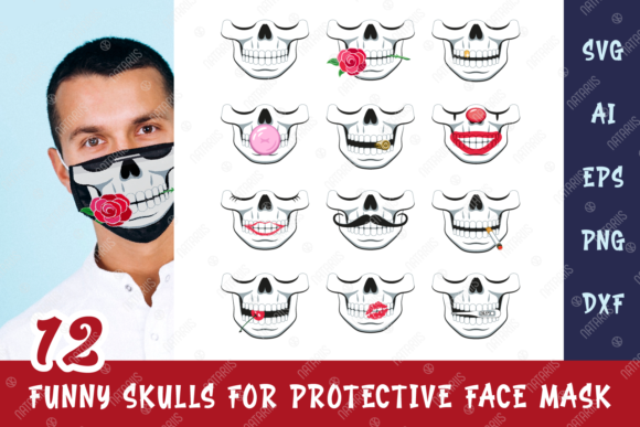12 Funny Skulls for Protective Face Mask Graphic Crafts By Natariis Studio - Image 1
