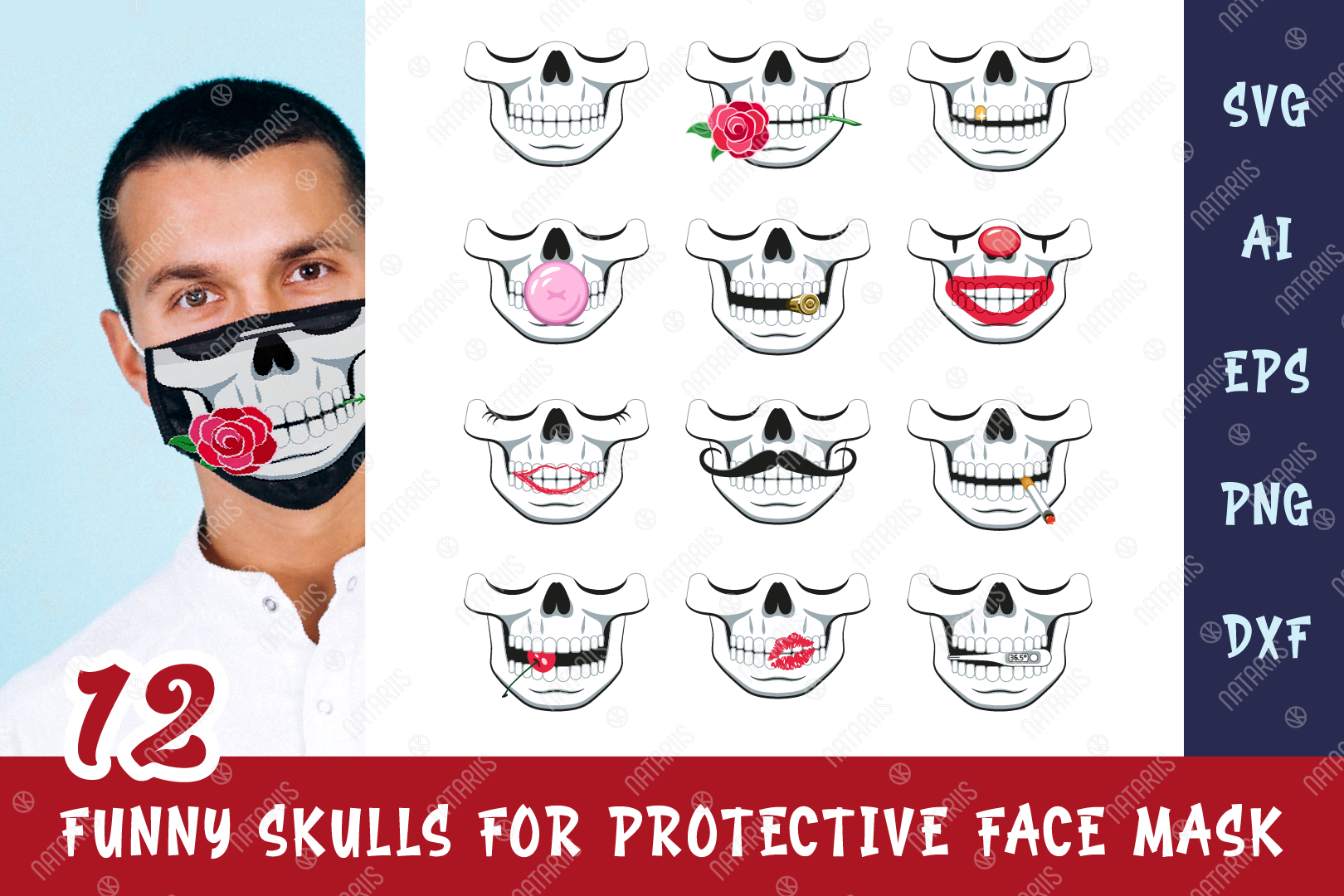 Download Free 12 Funny Skulls For Protective Face Mask Graphic By Natariis SVG Cut Files