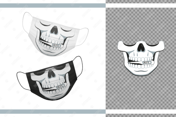 12 Funny Skulls for Protective Face Mask Graphic Crafts By Natariis Studio - Image 7