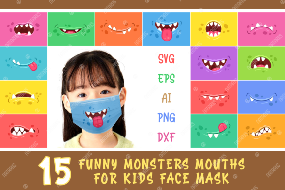 15 Funny Monsters Mouths for Kids Mask Grafik Plotterdateien von Natariis Studio