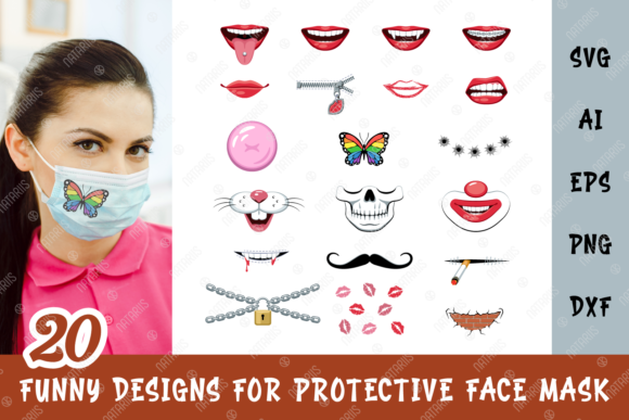 20 Funny Designs for Face Mask Grafik Plotterdateien von Natariis Studio