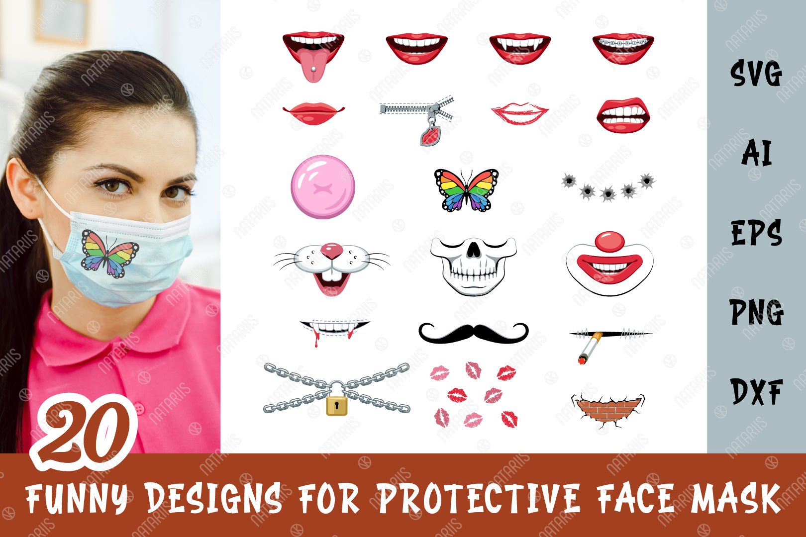 Download Free 20 Funny Designs For Face Mask Graphic By Natariis Studio for Cricut Explore, Silhouette and other cutting machines.