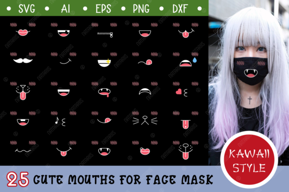 Download Free 25 Cute Mouths For Black Face Mask Graphic By Natariis Studio for Cricut Explore, Silhouette and other cutting machines.