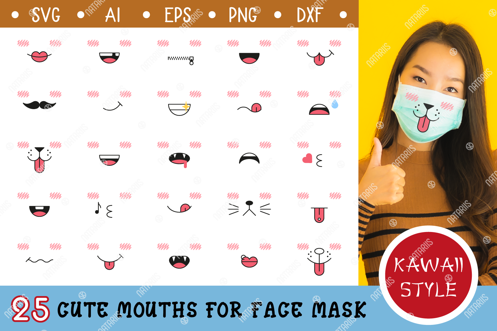 Download Free 25 Cute Mouths For Medical Face Mask Graphic By Natariis Studio Creative Fabrica for Cricut Explore, Silhouette and other cutting machines.