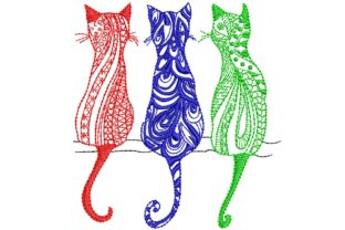 3 Color Cats Cats Embroidery Design By BabyNucci Embroidery Designs