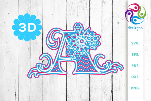 Print on Demand: 3D Multilayer Floral Chevron Letter a Graphic 3D SVG By Sintegra