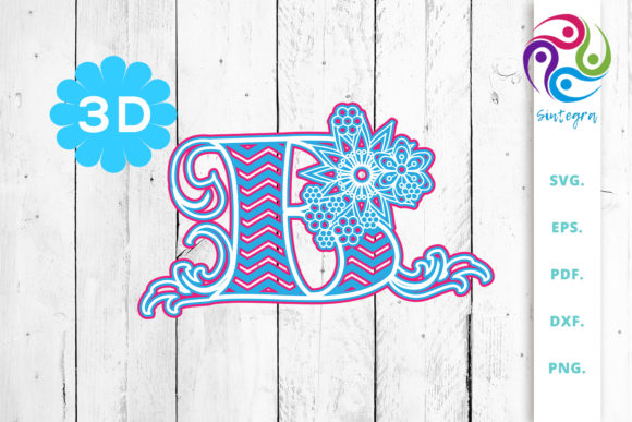 Download Free 3d Multilayer Floral Chevron Letter M Graphic By Sintegra for Cricut Explore, Silhouette and other cutting machines.