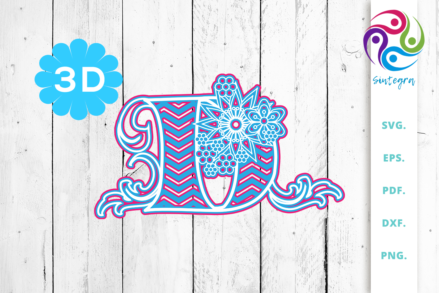 Download Free 3d Multilayer Floral Chevron Letter D Graphic By Sintegra for Cricut Explore, Silhouette and other cutting machines.