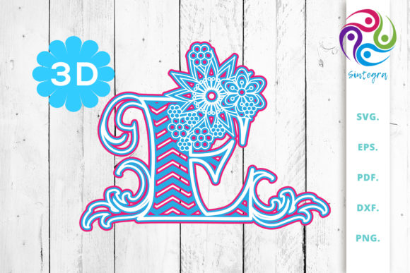Print on Demand: 3D Multilayer Floral Chevron Letter E Graphic 3D SVG By Sintegra
