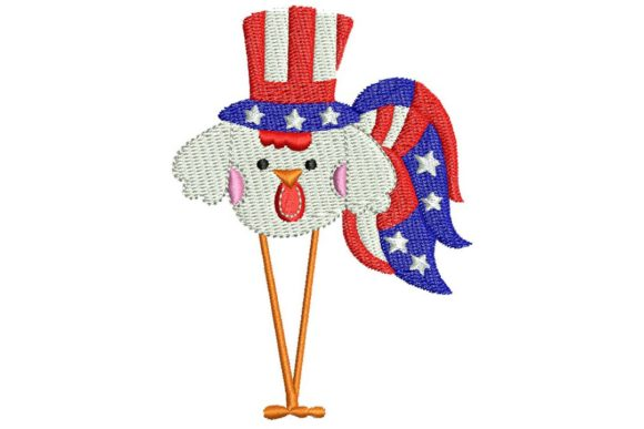 4th July Roosters 02 Independence Day Embroidery Design By BabyNucci Embroidery Designs