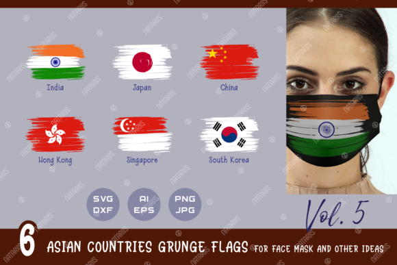 Download Free 6 Asian Countries Grunge Flags Graphic By Natariis Studio for Cricut Explore, Silhouette and other cutting machines.