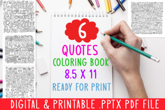 6 Quotes Inspirational Coloring Book Graphic Coloring Pages & Books Adults By DesignsBundles