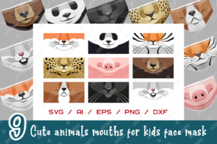Download Free 9 Cute Animals Mouths For Face Mask Graphic By Natariis Studio Creative Fabrica for Cricut Explore, Silhouette and other cutting machines.