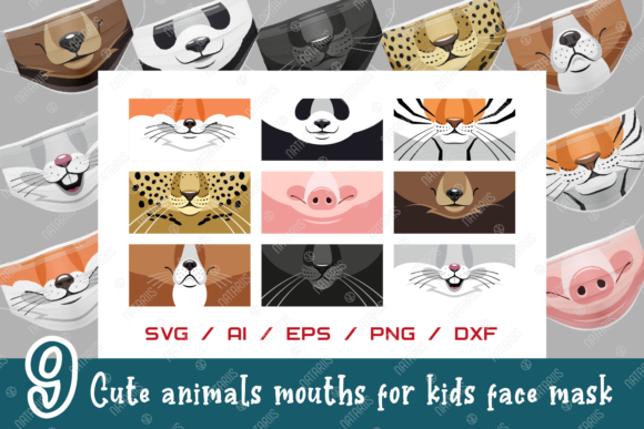 9 Cute Animals Mouths for Face Mask Grafik Plotterdateien von Natariis Studio