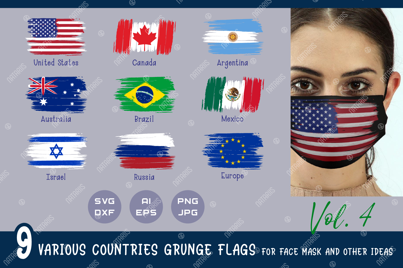 Download Free 9 Various Countries Grunge Flags Graphic By Natariis Studio Creative Fabrica for Cricut Explore, Silhouette and other cutting machines.