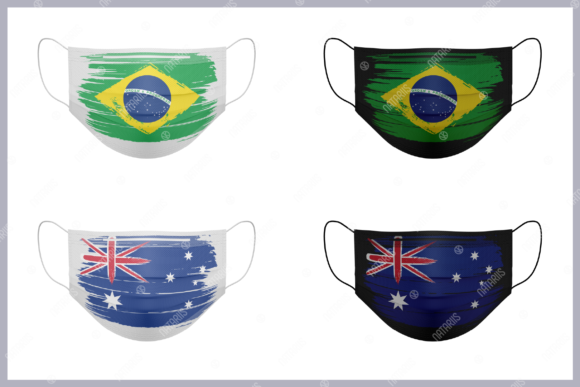 9 Various Countries Grunge Flags Graphic Item