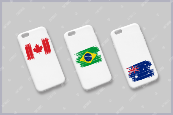 9 Various Countries Grunge Flags Graphic Design
