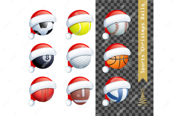 Download Free 9 Sports Balls With A Santa Claus Hat Graphic By Natariis for Cricut Explore, Silhouette and other cutting machines.