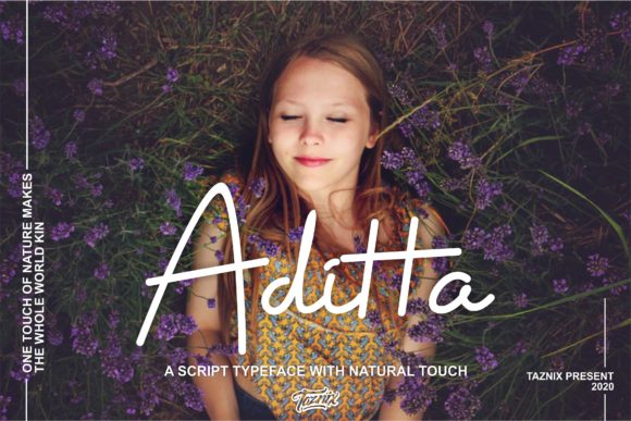 Print on Demand: Aditta Script & Handwritten Font By taznixart