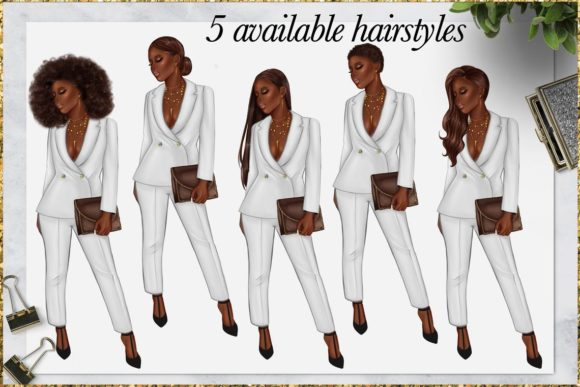 Print on Demand: Afro American Girl Clipart Graphic Illustrations By TheGGShop - Image 3