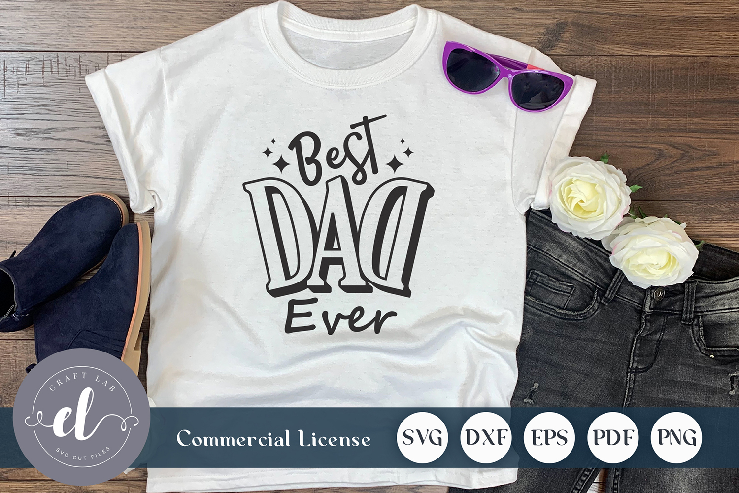 Download Free Best Dad Ever Graphic By Craftlabsvg Creative Fabrica for Cricut Explore, Silhouette and other cutting machines.