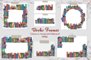 Books Frames. Watercolor Clip-Art Graphic Objects By BarvArt