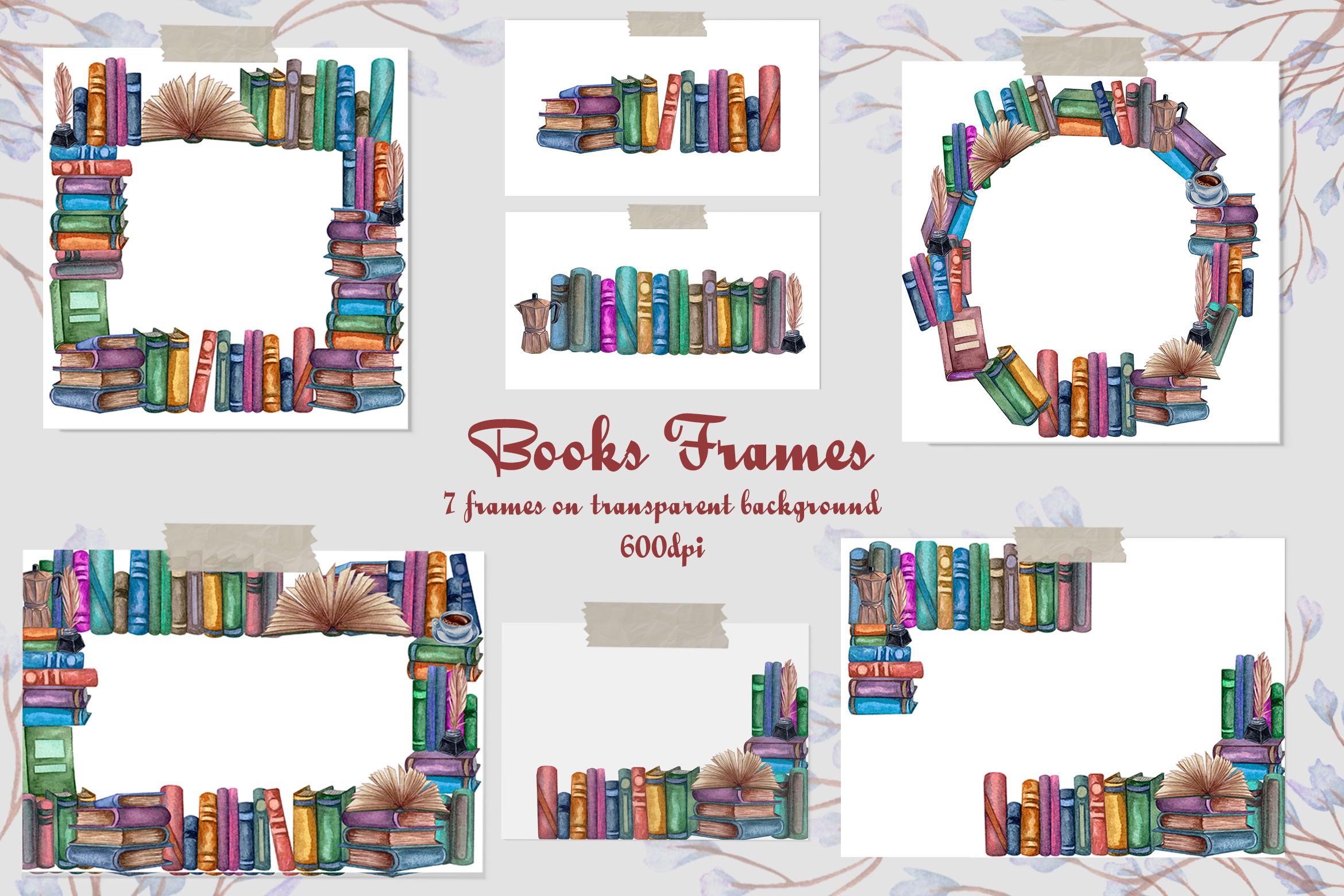 Books Frames Watercolor Clip Art Graphic By Barvart Creative