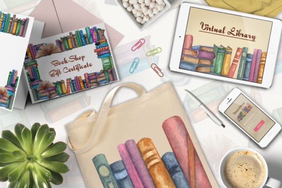 Download Free Books Frames Watercolor Clip Art Graphic By Barvart Creative for Cricut Explore, Silhouette and other cutting machines.