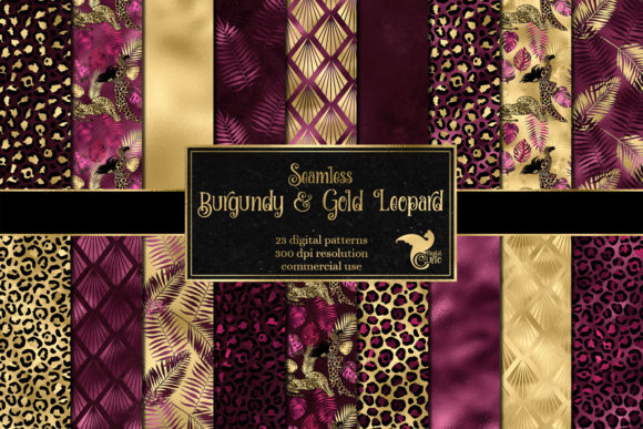 Print on Demand: Burgundy and Gold Leopard Digital Paper Graphic Backgrounds By Digital Curio