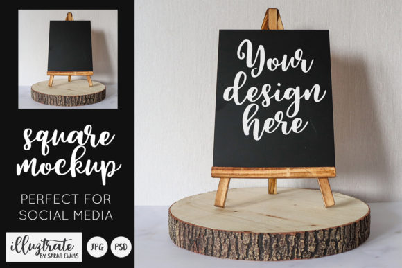 Download Free Chalkboard Easel Square Social Mockup Graphic By Illuztrate for Cricut Explore, Silhouette and other cutting machines.