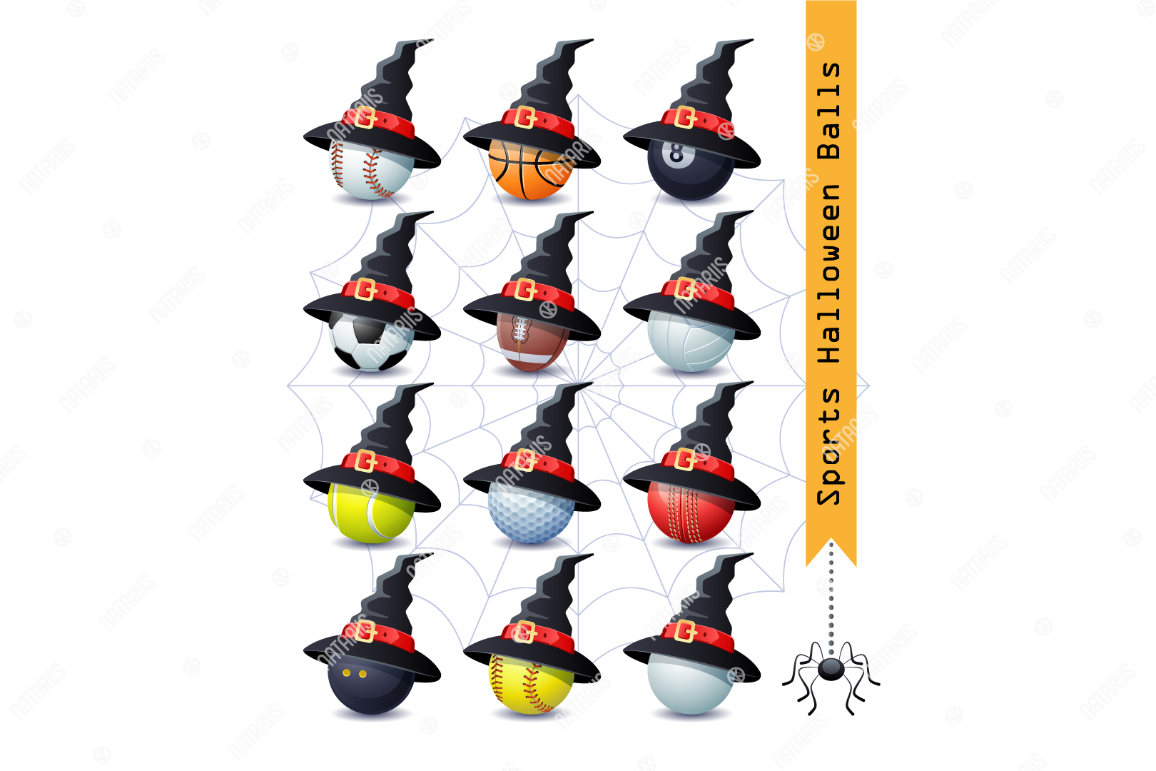 Download Free Collection Of 12 Halloween Sports Balls Graphic By Natariis for Cricut Explore, Silhouette and other cutting machines.