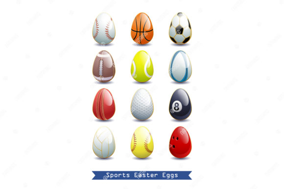 Collection of 12 Sports Easter Eggs. Graphic Objects By Natariis Studio