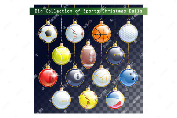 Collection of 14 Sports Christmas Balls. Graphic Objects By Natariis Studio
