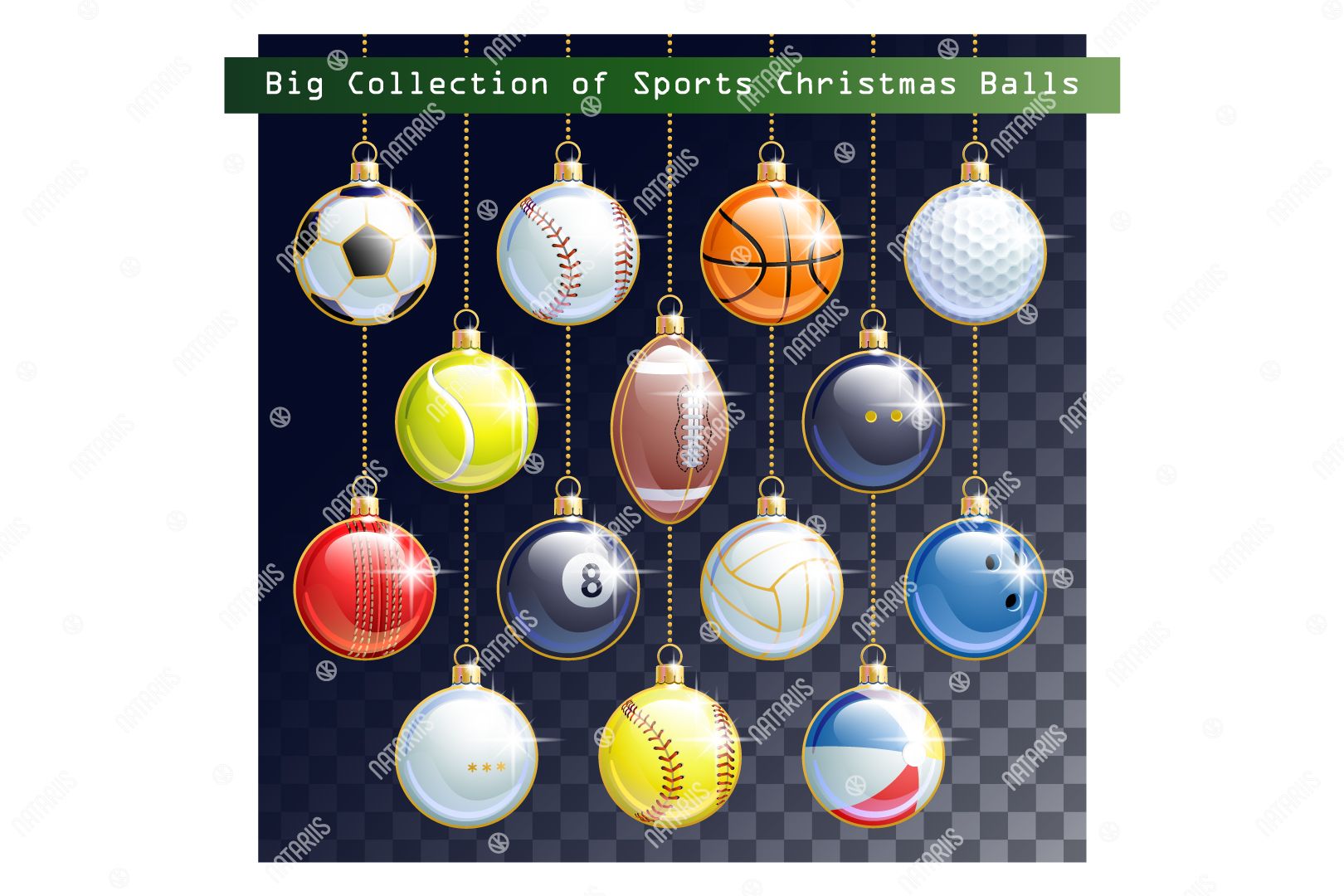 Download Free Collection Of 14 Sports Christmas Balls Graphic By Natariis for Cricut Explore, Silhouette and other cutting machines.