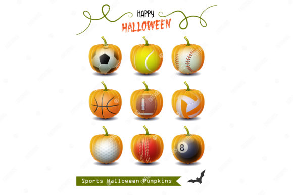 Collection of 9 Halloween Sport Pumpkins Graphic Objects By Natariis Studio