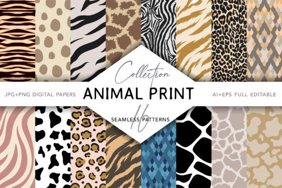 Collection of Animal Print Seamless Patterns Gráfico Moldes Por digitalEye