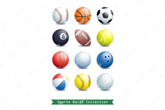 Collection of Different 3d Sports Balls. Graphic Objects By Natariis Studio