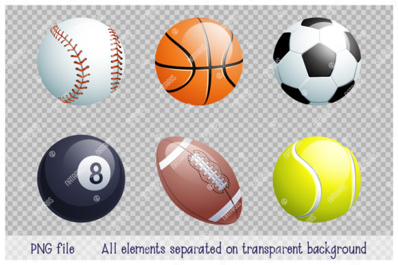 Collection of Different 3d Sports Balls. Graphic Download