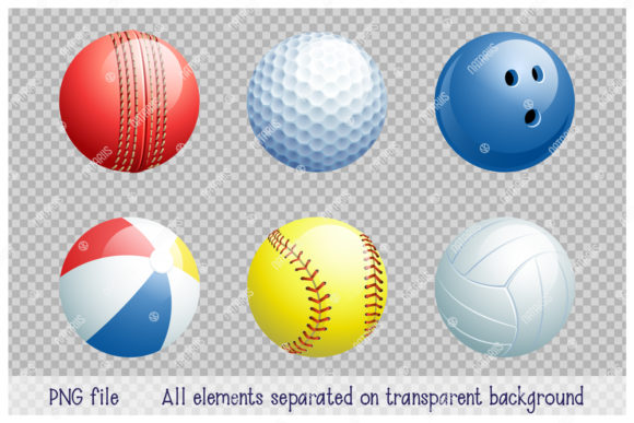 Collection of Different 3d Sports Balls. Graphic Item