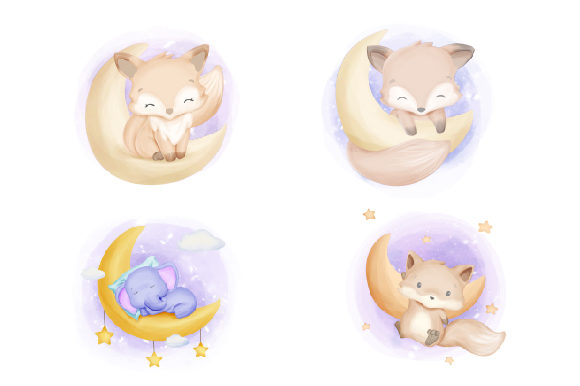 Cute Animal Moon Collection Series Graphic Illustrations By alolieli - Image 2