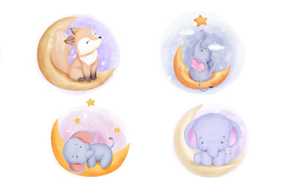 Cute Animal Moon Collection Series Graphic Illustrations By alolieli - Image 3