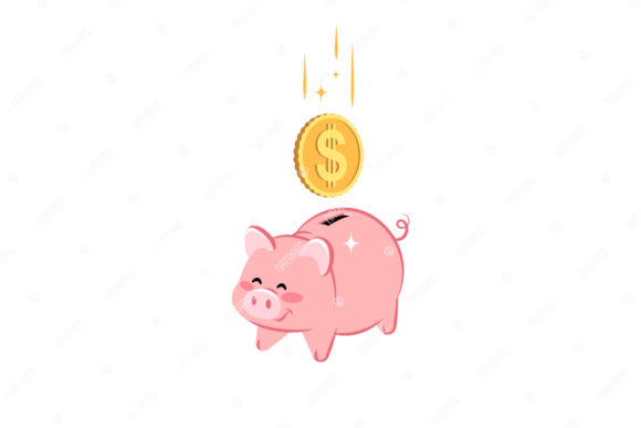 Cute Piggy Bank with Falling Dollar Coin Graphic Illustrations By Natariis Studio