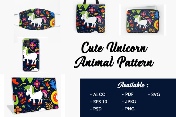 Download Free Cute Ponny Unicorn Pattern Graphic By Griyolabs Creative Fabrica for Cricut Explore, Silhouette and other cutting machines.